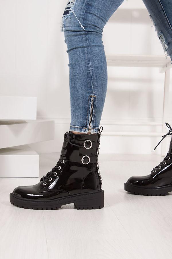 DEMI Black Patent Silver Ring Double Buckle Biker Boots