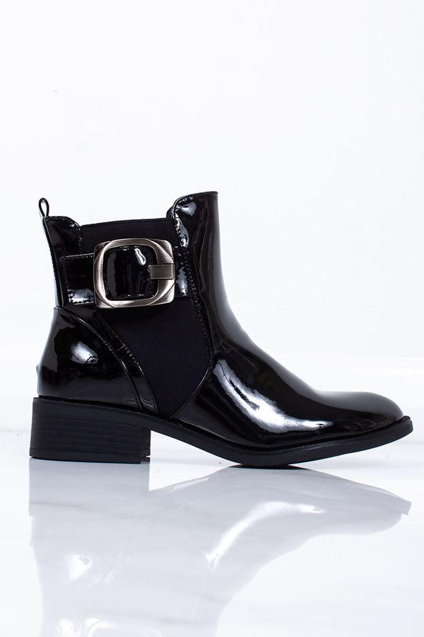 ROSA Black Patent Buckle Strap Chelsea Boots