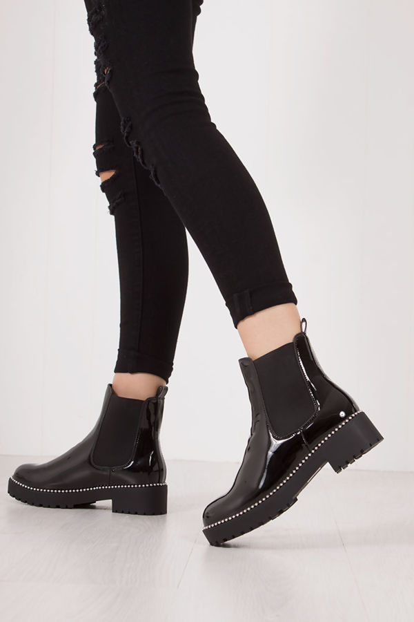 TALLIE Black Faux Patent Leather Silver Stud Chelsea Boots