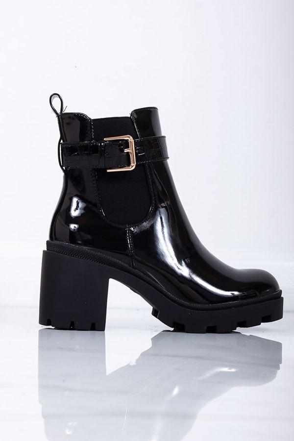 MELISSA Black Patent Buckle Strap Chunky Block Heel Boots