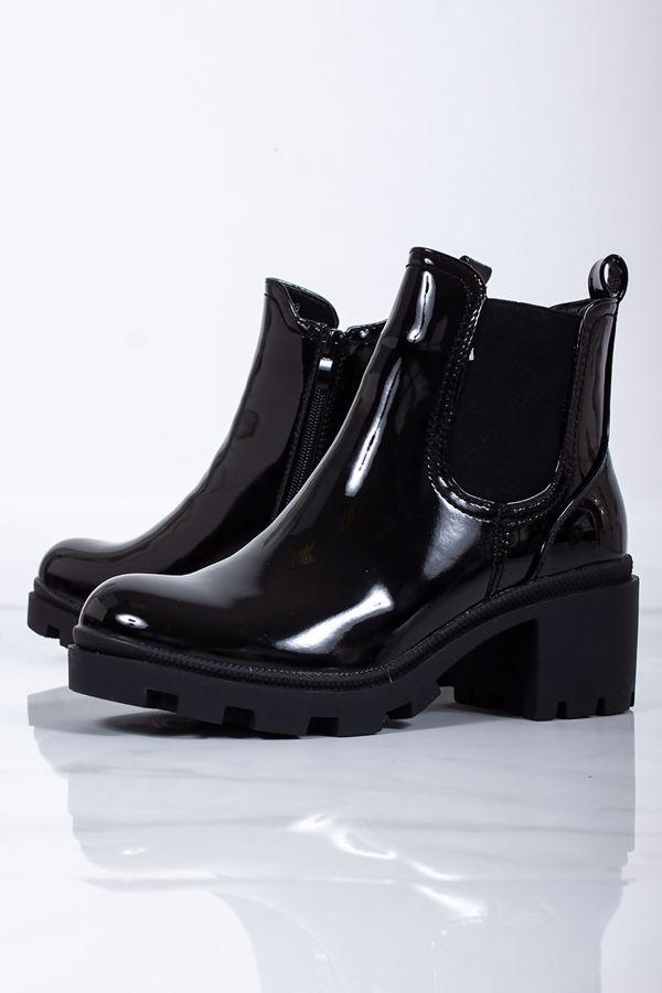 KRISTEN Black Patent Chelsea Boots