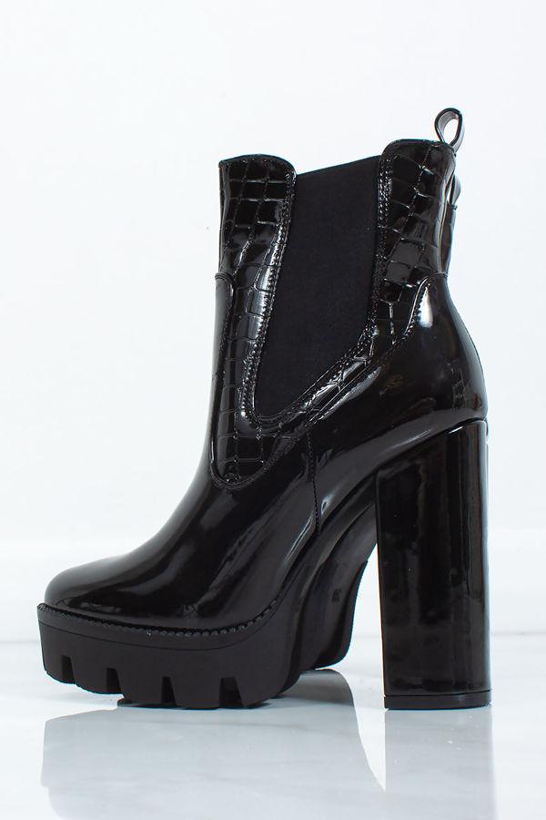 MACI Black Patent Croc Platform Heeled Biker Boots