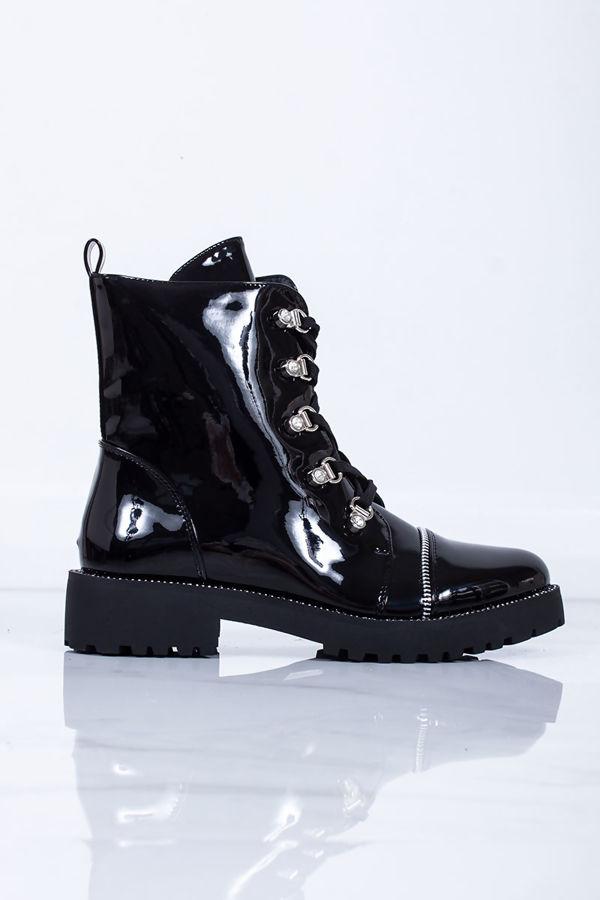 CARLA Black Patent Hiker Boots