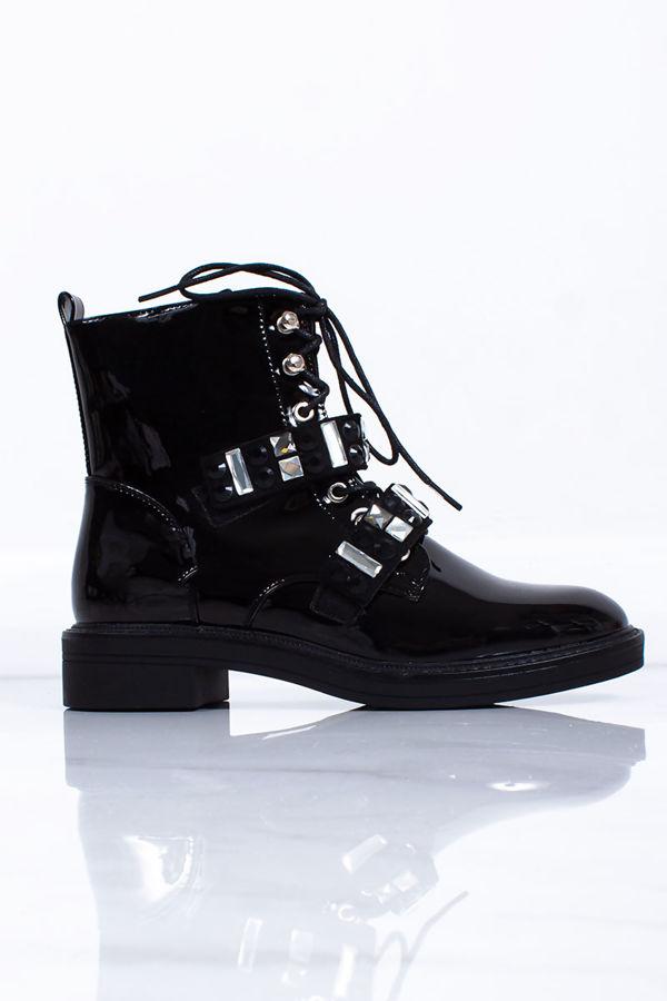 MAISIE Black Patent Jewel Detail Strap Ankle Boots