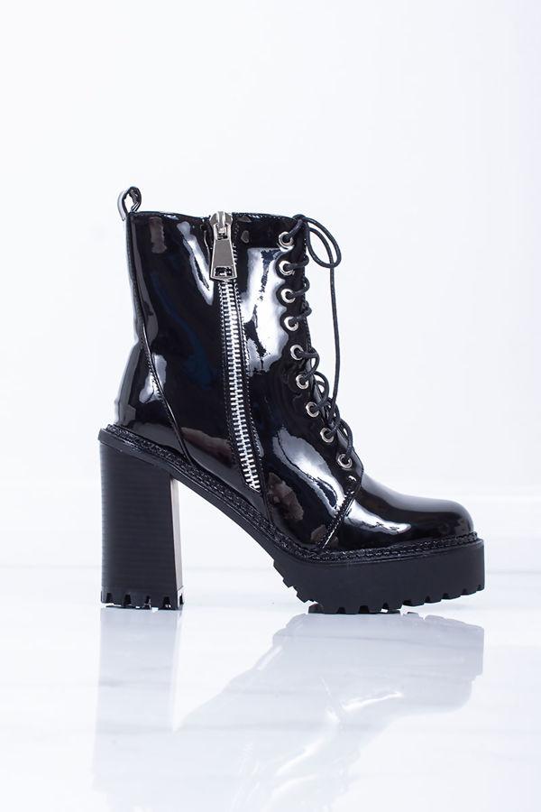 AMY Black Patent Zip Biker Boots
