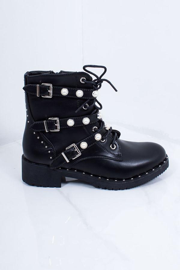 EMILEE Black Faux Leather Pearl Buckle Strap Biker Boots