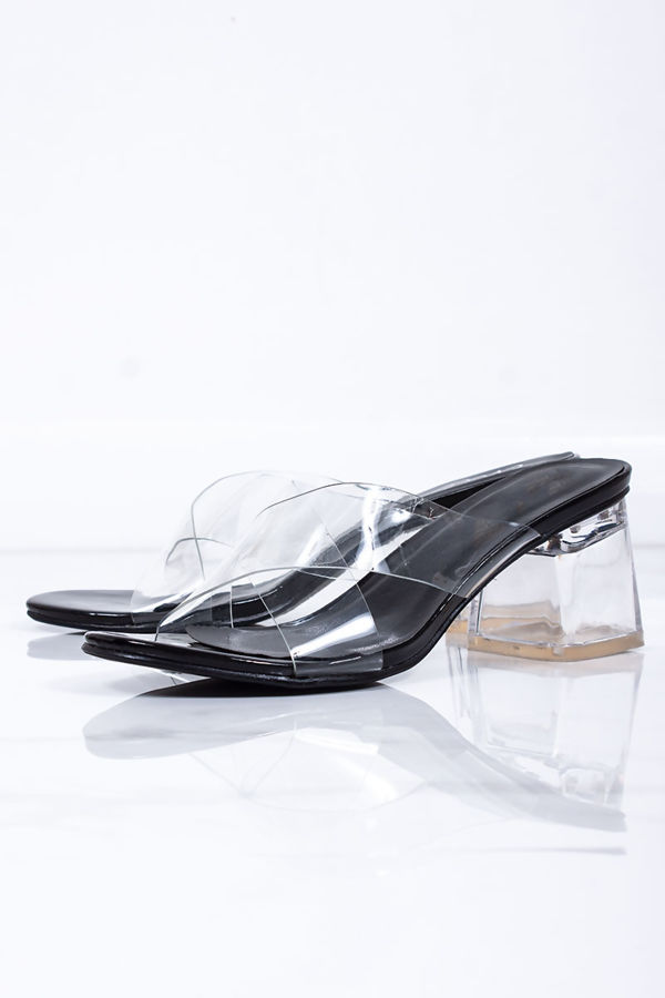 ALANA Black Clear Block Heel Mules