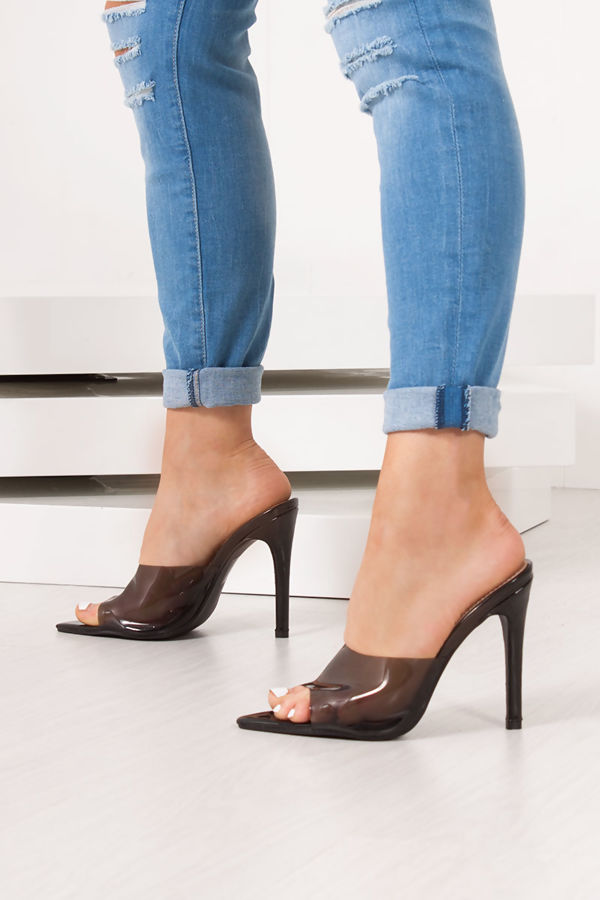 IVY Black Patent Clear Strap Stiletto Mules