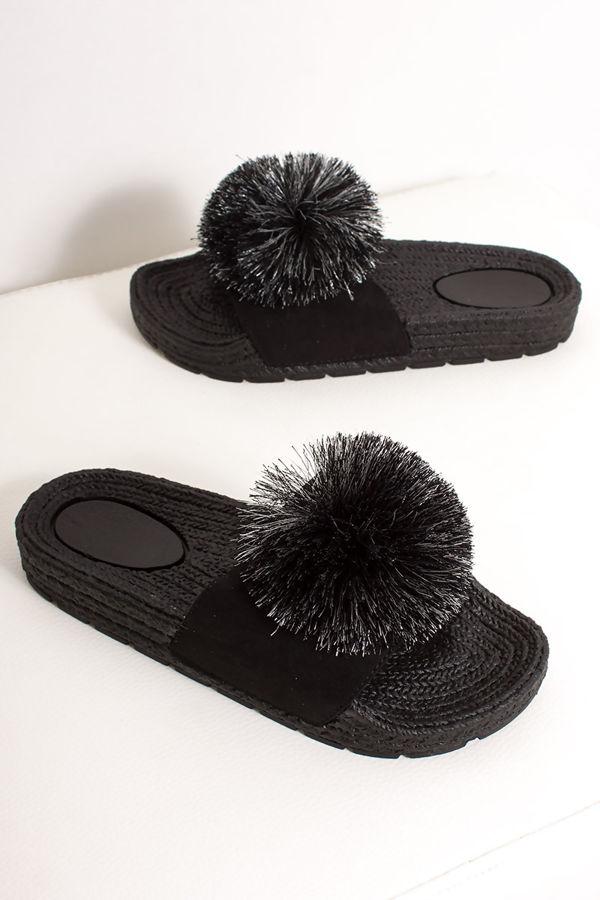 KYLIE Black Pom Pom Espadrille Sliders