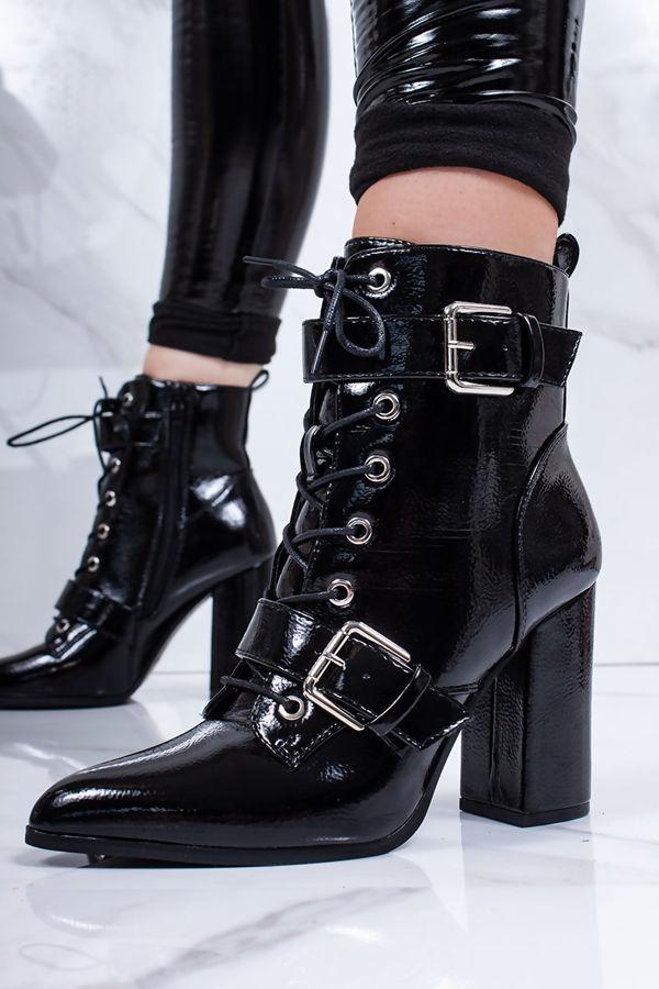 RIAH Black High Shine Buckle Strap Block Heeled Boots