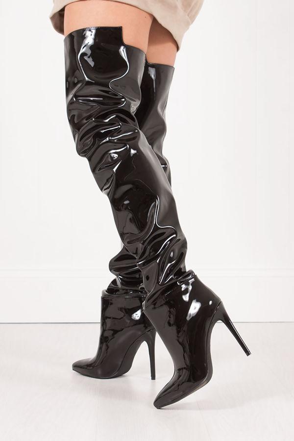 NATALYA Black PVC Thigh High Boots With Stiletto Heel