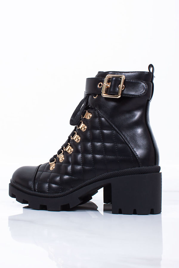 LEIA Black Buckle Strap Quilted Heeled Boots