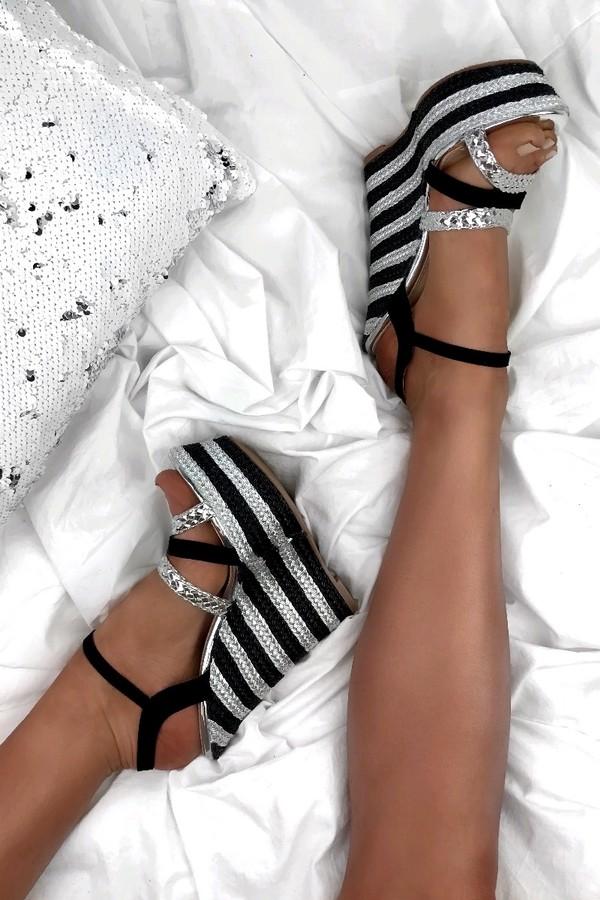 ALESHA Silver And Black Metallic Wedges