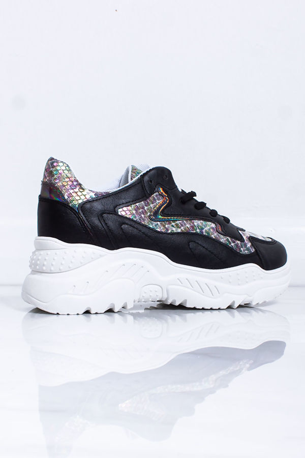 ELIZA Black Holographic Chunky Trainers