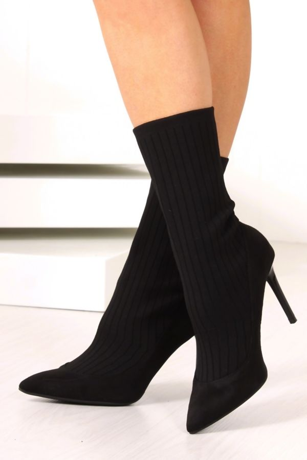 MISSY Black Ribbed Knitted Sock Boots With Stiletto Heel