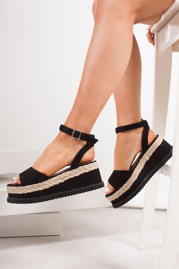 KENDALL Black Suede Flatform Espadrille Sandals