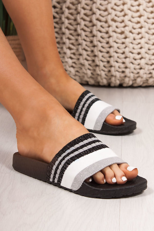 LULA Black Croc Print Striped Strap Sliders