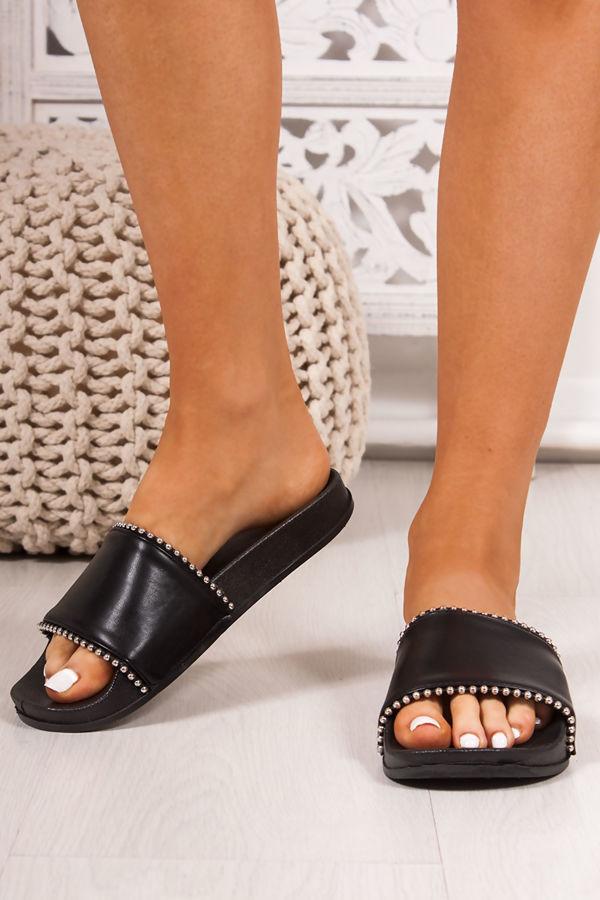 MADDIE Black Strap Stud Detail Sliders