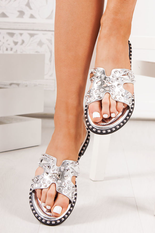 SOFIA Silver Sliders With Silver Stud Detail