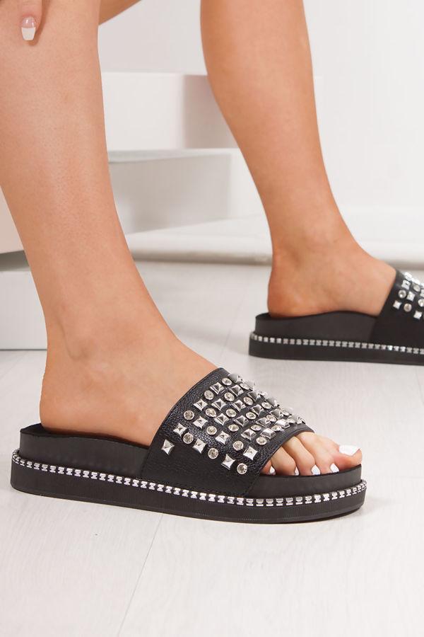 FINLEY Black Stud Diamante Chunky Sliders