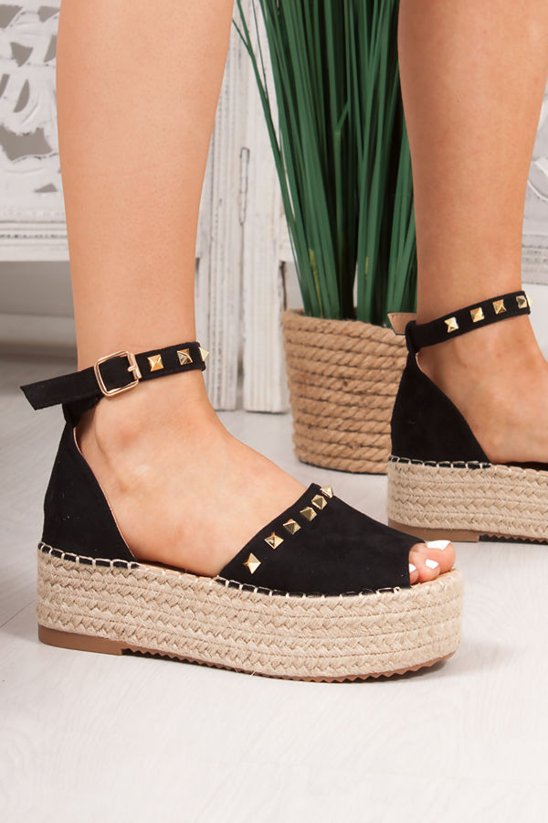 DAKOTA Black Suede Stud Detail Espadrille Flatforms