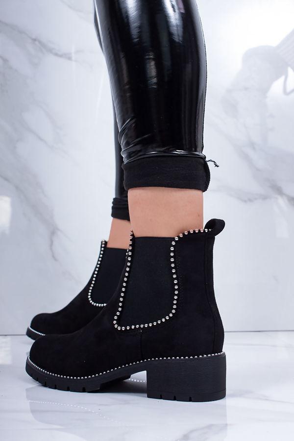 ALEX Black Faux Suede Stud Chelsea Boots