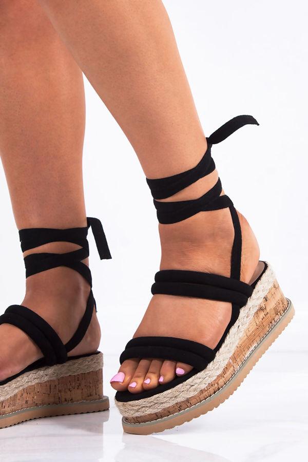 HARLOW Black Faux Suede Wrap Up Flatform Espadrille Sandals