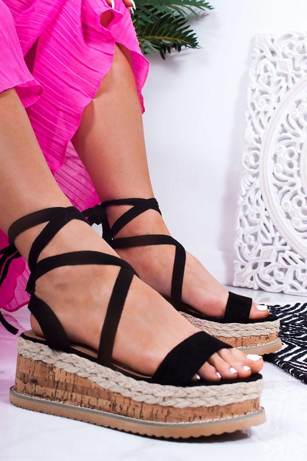 INDIGO Black Wrap Up Espadrille Flatforms