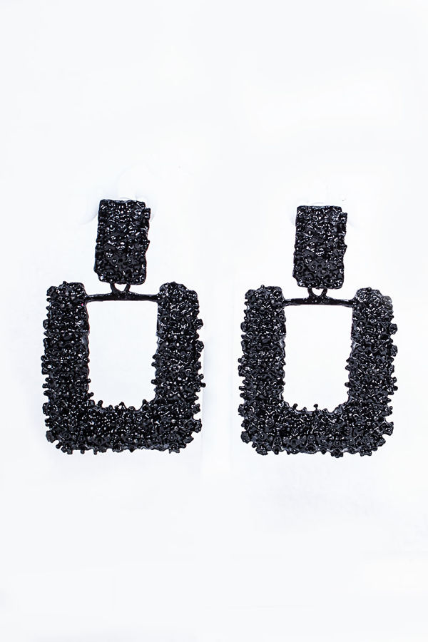 VANESSA Black Textured Square Earrings