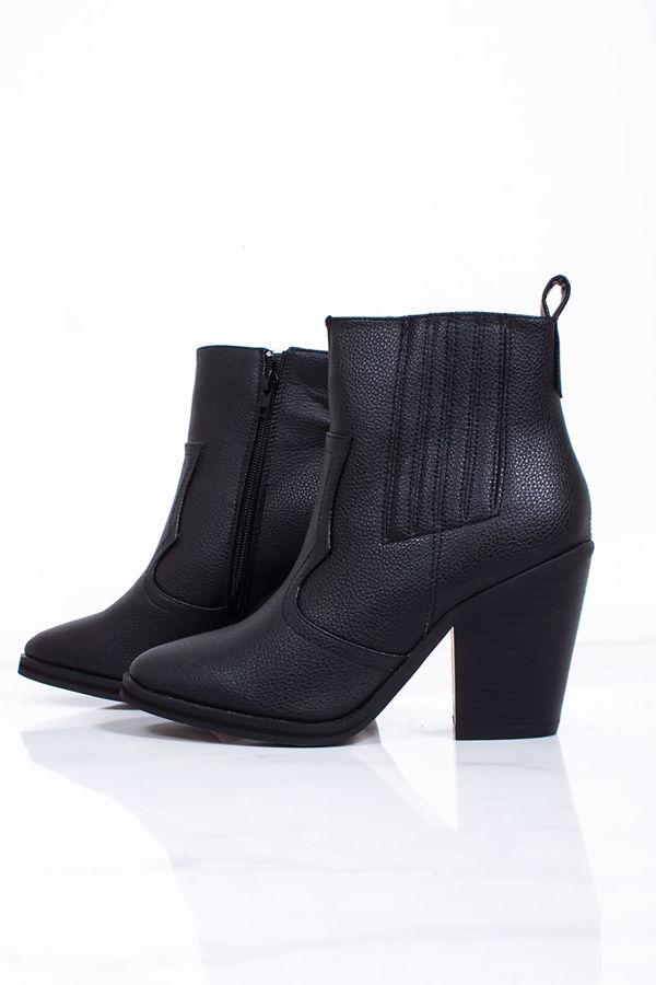 IVY Black Pointed Toe Block Heel Western Boots