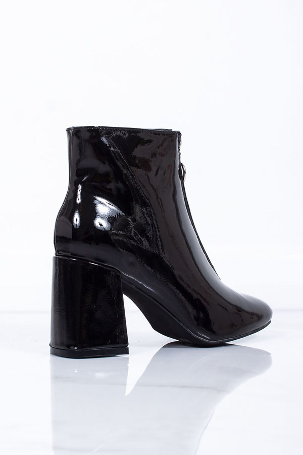 PHOEBE Black Patent Zip Detail Block Heeled Ankle Boots
