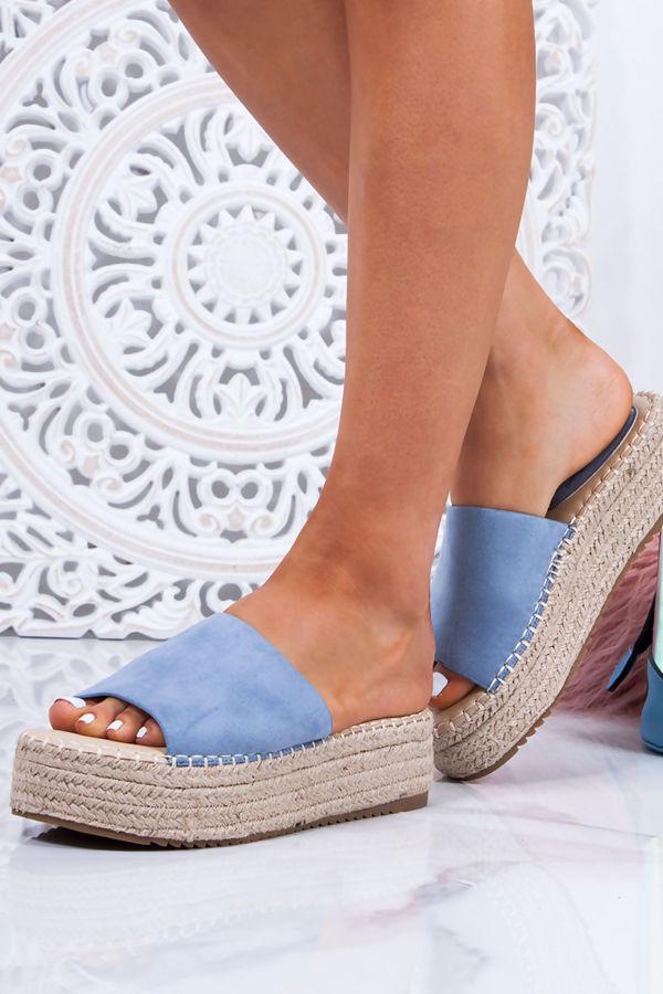 ORLA Blue Faux Suede Strap Espadrille Flatform Sandals