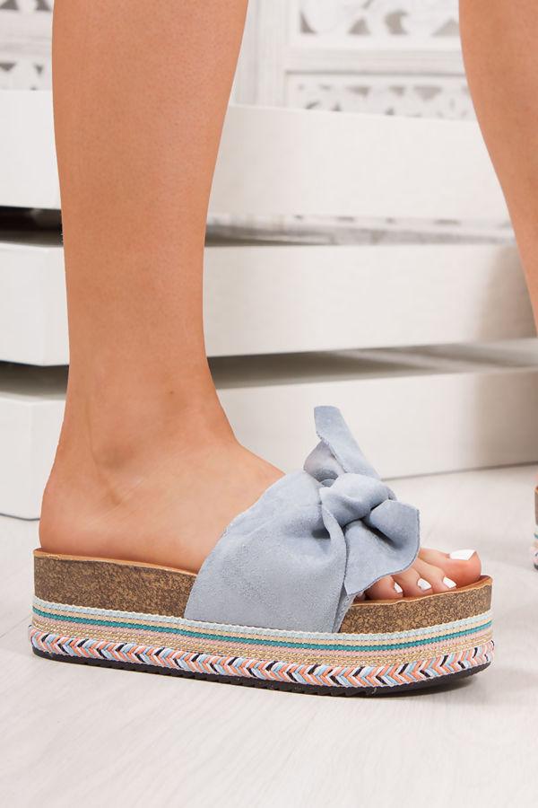 NORELLE Blue Bow Aztec Flatform Sandals