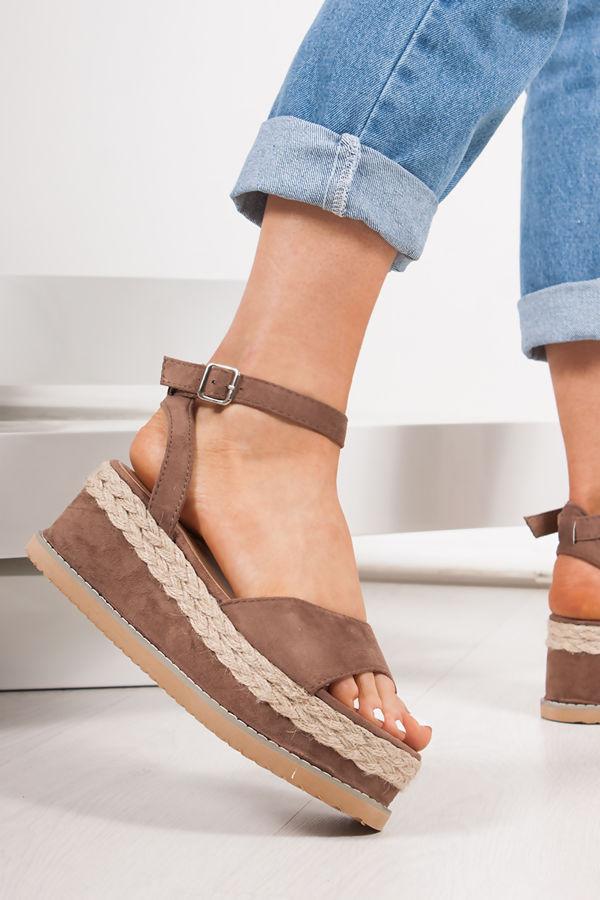 KENDALL Mocha Suede Flatform Espadrille Sandals