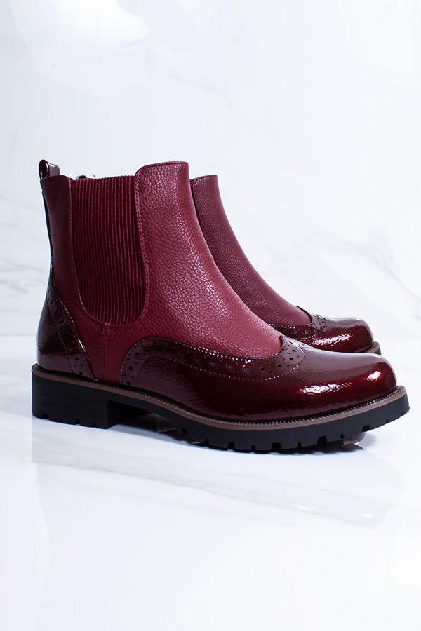 AVA Burgundy Faux Leather Brogue Chelsea Boots