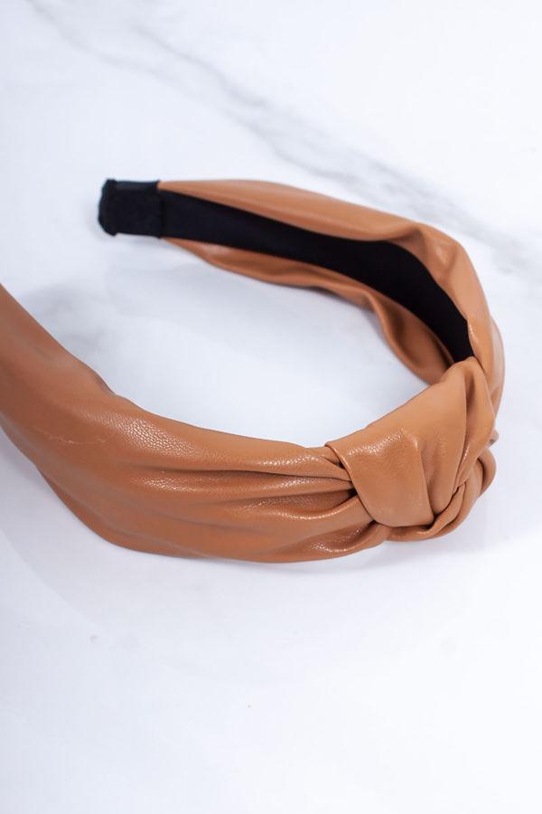 CARRIE Tan Leather Knot Headband