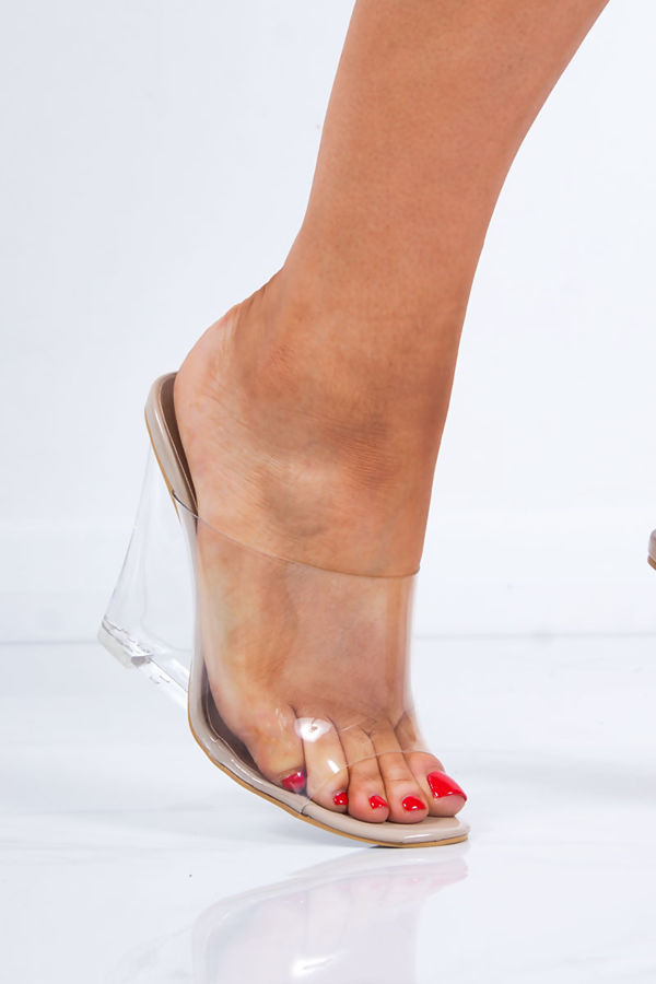 MAI Nude Faux Leather Clear Wedge Mules