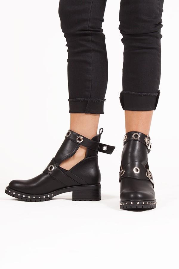 EBONY Black Eyelet Buckle Strap Boots