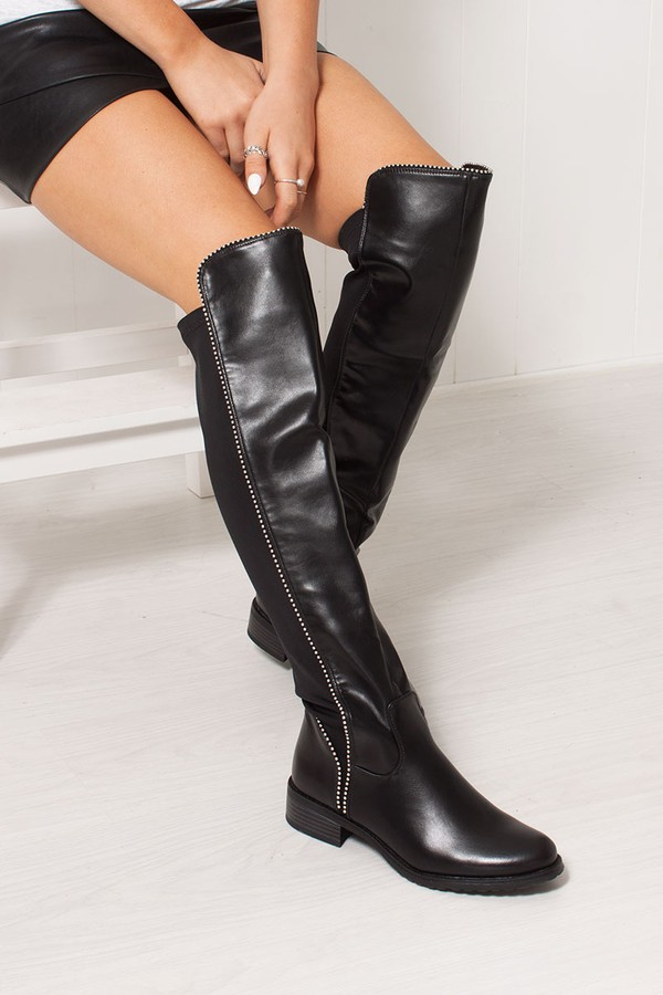ELIANA Black Faux Leather Silver Studded Flat Over The Knee Boots