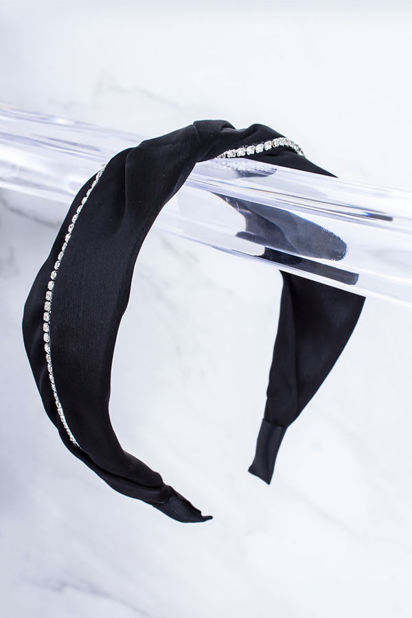 ELLA Black Diamante Trim Knot Headband