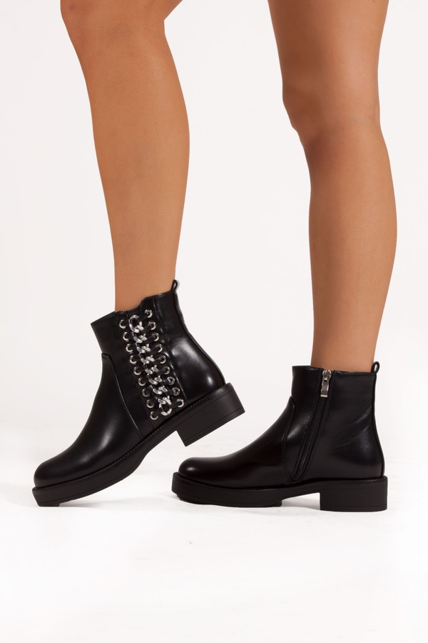 EMILIA Black Ankle Boot With Silver Chain Detail