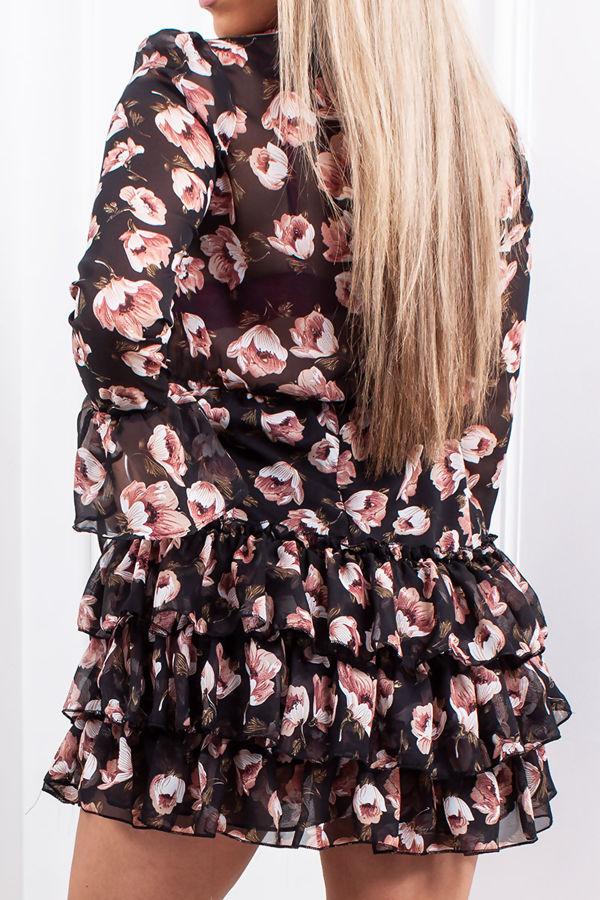 MINA Black Floral Tie Front Tiered Dress