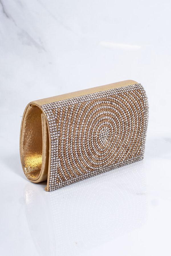 MOLLY Gold Diamante Mini Clutch Bag
