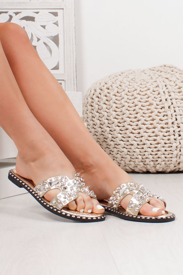 SOFIA Gold Sliders With Silver Stud Detail