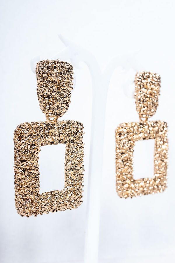 FREYA Gold Textured Square Earrings