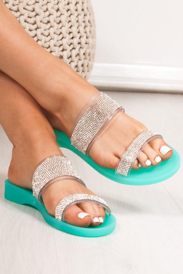 BETHANY Green Diamante Strap Jelly Sandals
