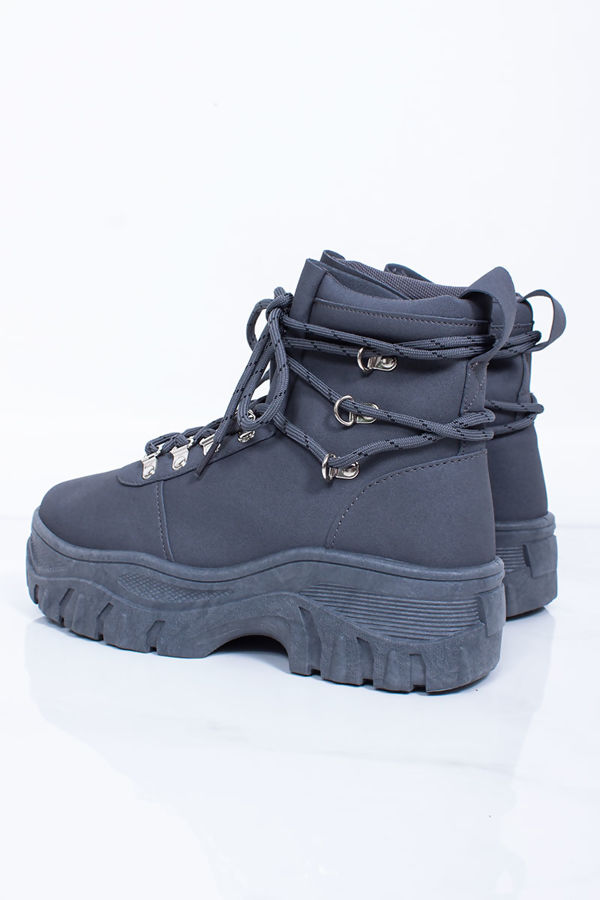 HAILEY Grey Lace Up Hi-Top Chunky Hiker Trainers