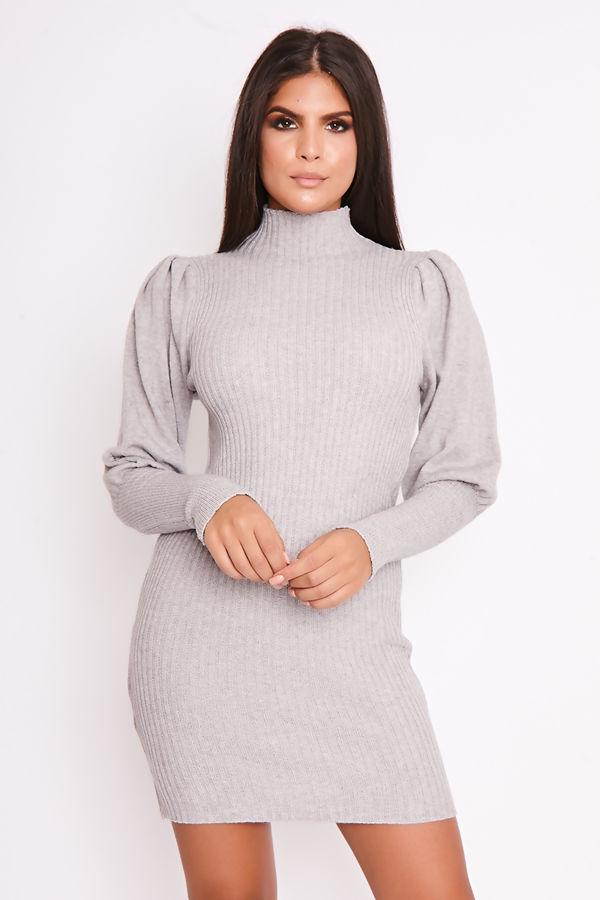 FREDA Grey Ribbed Puff Sleeve Knitted Jumper Dress