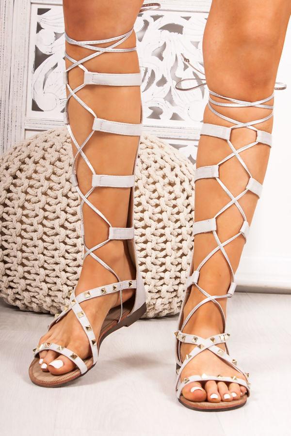 b5adcb58f2fc ANASTASIA Grey Faux Suede Stud Gladiator Sandals