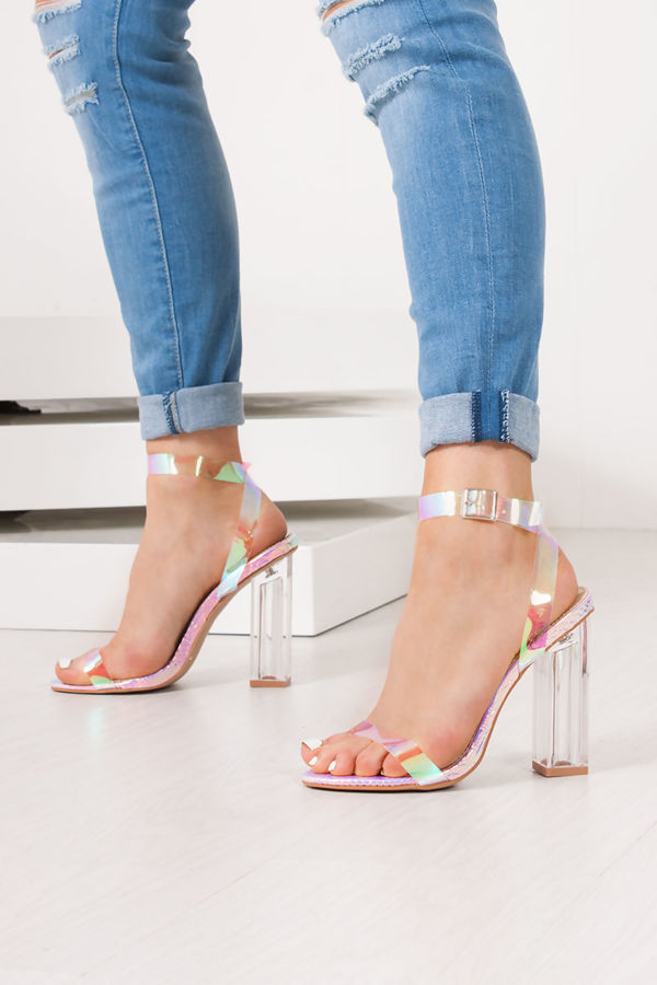 EVELYN Holographic Snake Print Clear Block Heels